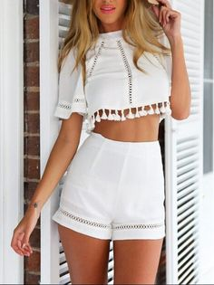 White Tassel Crop Top and High Waist Shorts//