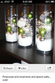 Glass vases, epsom salt, ornaments