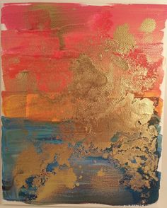 acrylic, spray paint, golden sunset, stretched canvas, diy, handmade, art, artwork, abstract, gold, pink, blue