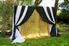Black, White and Shimmery Gold Backdrop