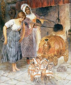 "fairytalemood:    ""Cinderella and the Fairy Godmother"" by William Henry Margetson"