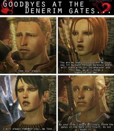 Dragon Age: Origins, romance goodbyes at the Denerim gates, before going to fight the Archdemon