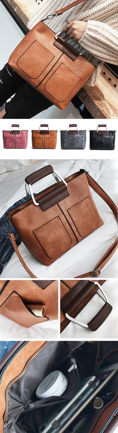 US$25.91 Women Oil Wax Leather Retro Handbag Crossbody Bag #leatherbags #womenshandbags #crossbodybags