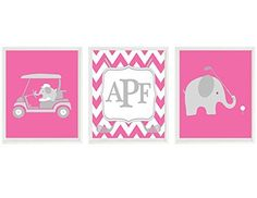 Nursery Prints, Elephant Nursery, Golf Wall Art, Personalized, Hot Pink Gray, Elephant Golf, Baby Girl Nursery, Chevron, Nursery Prints, Nursery Art, Elephant Print, Girls Golf. Nursery Prints, Elephant Nursery, Golf Wall Art, Personalized, Hot Pink Gray, Elephant Golf, Baby Girl Nursery, Chevron, Nursery Prints, Nursery Art, Elephant Print, Girls Golf Set of 3 Prints (Frames not included - PRINTS ONLY) - The size you choose is the size of each individual print You can customize print to...