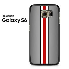 Grey Black White Red Line Samsung Galaxy S6 Case