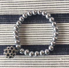 Denim Stretch   Pearl and Midnight Bauble Bracelet   in a pinch gifts.myshopify.com