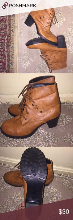 Cognac booties In excellent condition. Practically new. Vintage Shoes Ankle Boots & Booties