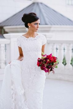 high neckline and lace