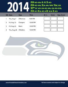 Seattle Seahawks 2014 Preseason Schedule