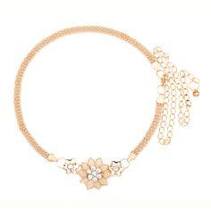 Korean style fashion Crystal belts for women metal chain thin Waist belt Women decoration Floral Design women Belts