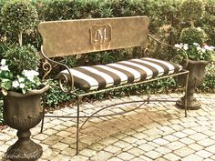 French Bench, Fine Art Photography, Garden Photography, Cottage Chic, Shabby and Chic, Stripes, Black and White, Rustic. $28.00, via Etsy.