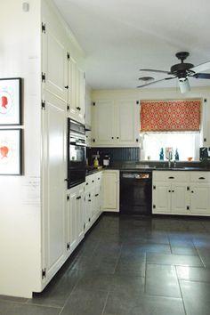 Herringbone kitchen floor tiles