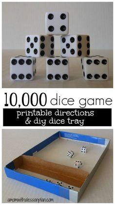 10,000 dice game -- awesome game for the entire family! Family Fun Games, Group Games, Family Game Night, Games For Kids, Games To Play, Activities For Kids, Group Activities, Spring Activities, Playing Games