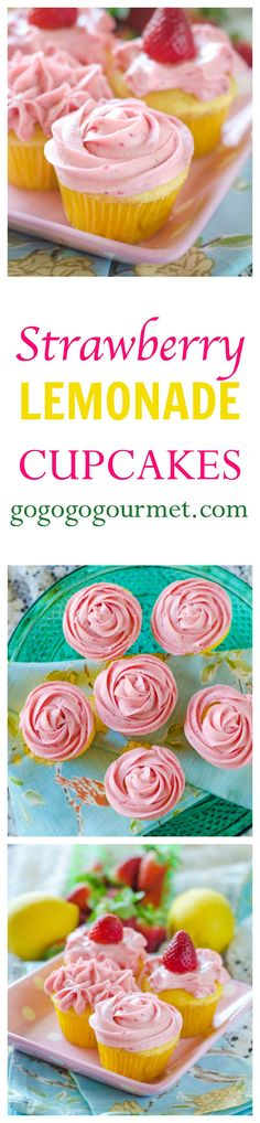 These beautiful cupcakes will have you longing for warm days! Lemon cake filled with a lemon curd and topped with a super-easy, super-delicious strawberry buttercream! Strawberry Lemonade Cupcakes | Go Go Go Gourmet @gogogogourmet