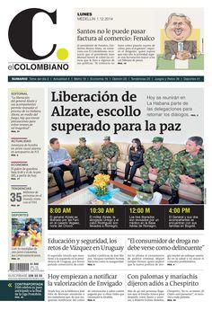 Portada de El Colombiano para el lunes 1 de diciembre de 2014
