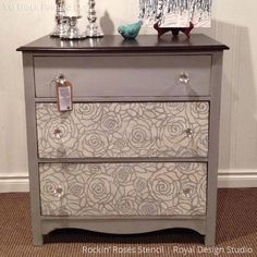 Gray and White Chalk Paint Painted Dresser Drawers with Rockin Roses Damask Stencils - Royal Design Studio