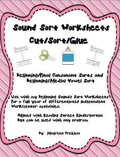 Sound Sort Worksheets-for Kindergarten Reading Street.  Consonant-Beginning/Final sorts & Vowel-Medial/Final sorts. Great for centers/independent work!  $