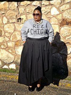 "Plus size fashion blogger Kiah rocking her DIY ""REZ CHIC"" sweatshirt."