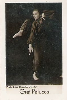 Gret Palucca was a Dresden dancer of the early 1900s whom was recognized for airborne springs, deep lunges, and high leg extensions.