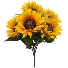 Blooming Autumn 21 Sunflower Bush-Yellow ($10) ❤ liked on Polyvore featuring flowers, autumn and filler