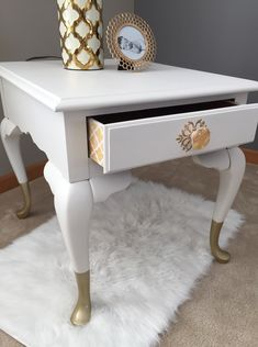 Available for purchase! Hollywood Regency Side Table. Vintage Broyhill side table painted in Fusion Mineral Paint Champlain and gold dipped legs. #fusionmineralpaint #golddippedlegs #hollywoodregency