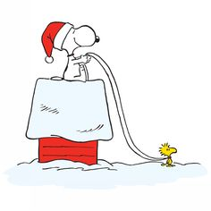 Woodstock pulls Snoopy on his doghouse sleigh