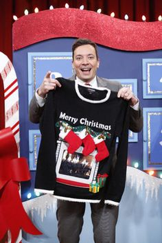 Celebrities in ugly Christmas sweaters-Jimmy Fallon