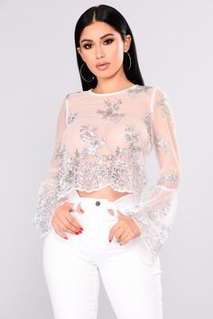 Available In White Bell Sleeves Scoop Neck Mesh Sequin 98% Polyester 2% Spandex