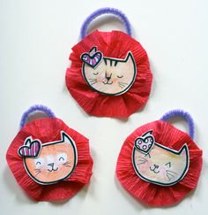 Handmade Valentine Ornaments Cat Trio by LadyLucas on Etsy, $14.95