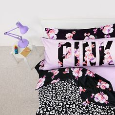 Victoria's Secret PINK Complete bed set For a full sized bed. Includes: comforter, sheet, fitted sheet, four standard pillow cases, the body pillow, and black bed skirt can be included if needed. No stains, in smoke free and pet free home. PINK Victoria's Secret Other