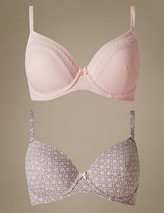 2 Pack Cotton Rich Padded Underwired Full Cup T-Shirt Bras A-E | M&S