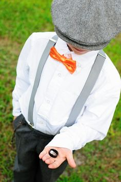 "Ring bearer for fall country wedding with ""news boy"" look. Cleopatra Photography"