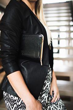 Jessica Clutch Purse #accessories #black #clutch #leather #patent #purse #ribbed #vegan #vinyl #women #womens #zip