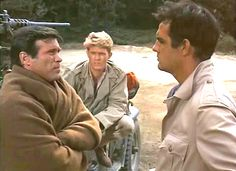 """Chris in a scene from the TV show """"The Rat Patrol """" with co-stars Gary Raymond and Lawrence Casey, 1966-68."""