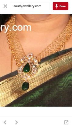 Mesh work necklace with polki pendant