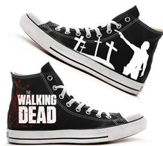 cfec09bd179 Custom Hand painted adult Converse shoes The Walking Dead