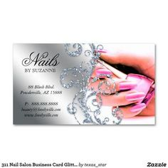 311 Nail Salon Business Card Glitter Pink Silver
