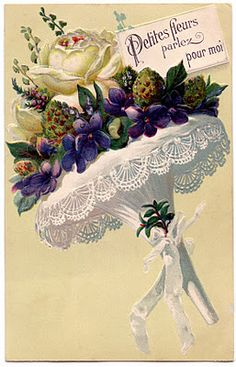 """*The Graphics Fairy LLC*: Victorian Graphic - French Flower Bouquet with Lace. Roses and Violets in a """"Tussy Mussy"""" Vintage Greeting Cards, Vintage Ephemera, Shabby Vintage, Vintage Postcards, Victorian Flowers, Vintage Flowers, Vintage Floral, Victorian Lace, Vintage Bridal"""
