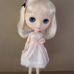 White and Pastel Pink Summer Dress for Blythe by myfairdolly, $14.00