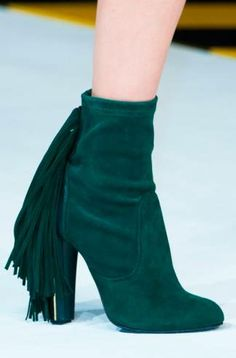 Women Elegant Dark Green Suede Fringe Block Heels Ankle Boots Comfortable  Chunky Heel Round Toe Back Tassel Short Boots Hot Sell 6b8d5db43ce5