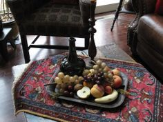 Antique Stone Fruit and antique oriental on my coffee table!!