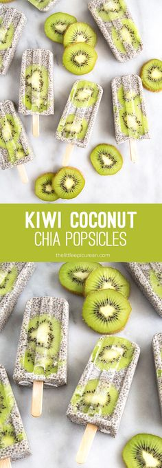 Kiwi slices floating among a sea of coconut chia pudding. These kiwi coconut chia popsicles are a satisfying breakfast treat!