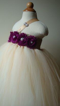 Ivory flower girl dress, tutu dress, plum, silver, Newborn - 24m,2t,3t,4t,5t,wedding,birthday,toddler,child,baby,tutu dress