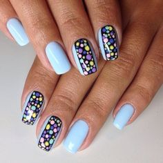 """If you're unfamiliar with nail trends and you hear the words """"coffin nails,"""" what comes to mind? It's not nails with coffins drawn on them. It's long nails with a square tip, and the look has. Funky Nail Designs, Funky Nail Art, Funky Nails, Nail Art Diy, Blue Nails, Trendy Nails, Diy Nails, Nail Art Designs, Nagellack Trends"""