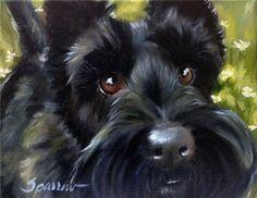 SPARROW Scottie Dog Scottish terrier painting portrait art oil Pet Gift