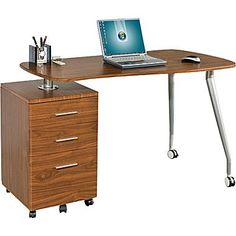 Star Kochab Mobile Computer Desk with Pedestal, Hazelnut