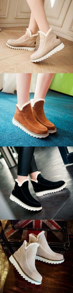 US$26.55 Big Size Pure Color Warm Fur Lining Winter Ankle Snow Boots For Women