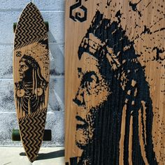 """Skates with wolves"" is a 34"" x 7.5"" bamboo pin-tail with carved artwork for grip. Ready for shred! www.straightstreetcalifornia.com  #design #art #style #longboard #skateboard #beach"