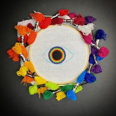 Embroidered rainbow eye using dmc etoile floss- {work in progress} Rainbow Galaxy, Rainbow Eyes, Galaxy Eyes, Crochet Earrings, Embroidery, Needlepoint, Crewel Embroidery, Embroidery Stitches