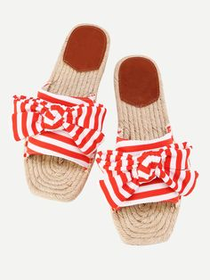 Shop Bow Tie Striped Flat Sliders  online. SheIn offers Bow Tie Striped Flat Sliders  & more to fit your fashionable needs.